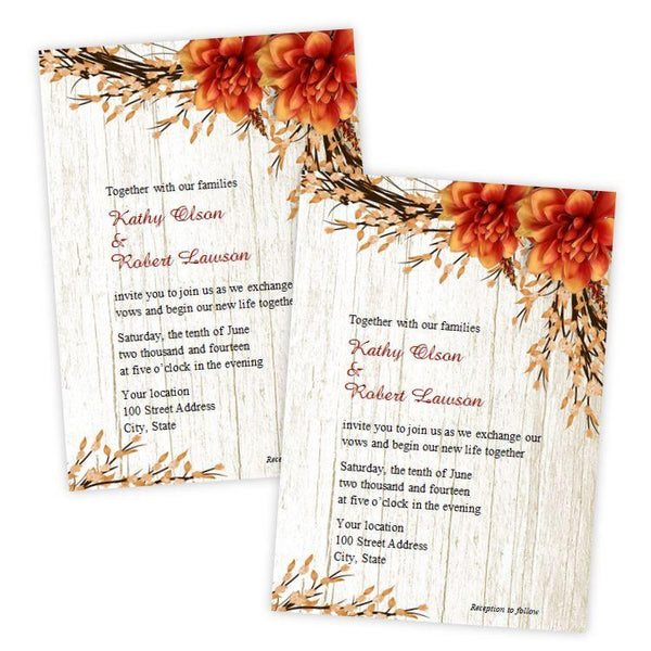 Country Fall Flowers Wedding Invitation Template