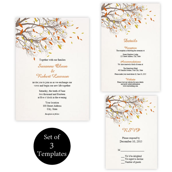 Fall Tree Branches Wedding Suite