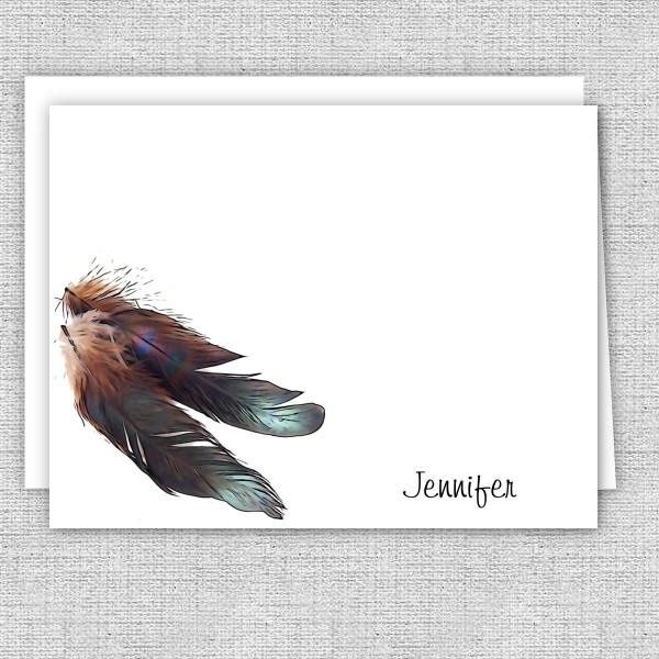 Feathers Personalized Note Cards