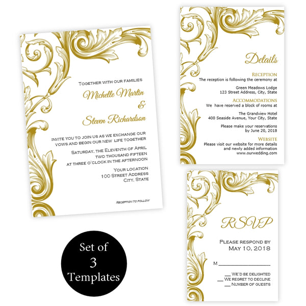 Gold Victorian Flourish Wedding Invitation Set