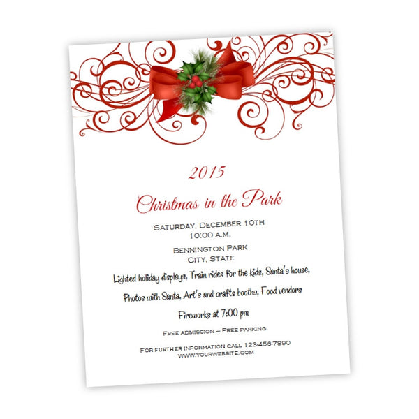 Red Bow and Flourish Christmas Party Flyer Template