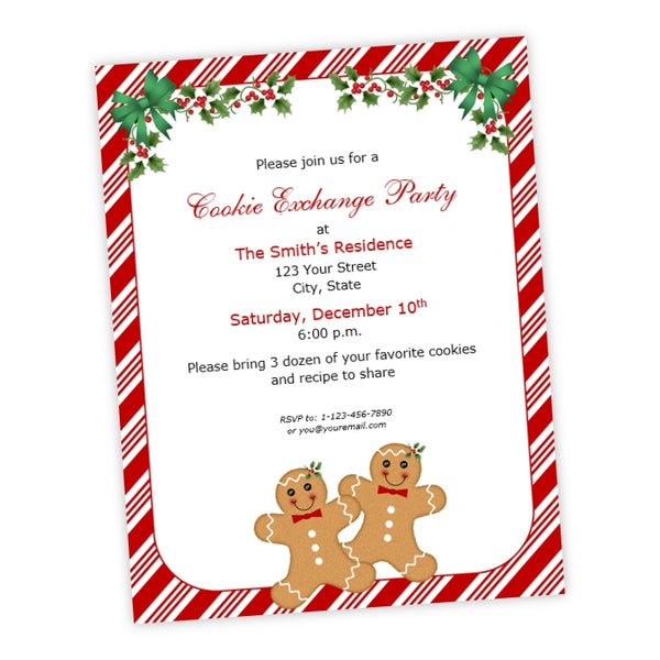 Christmas Party Flyer.Gingerbread Men Holly Christmas Party Flyer