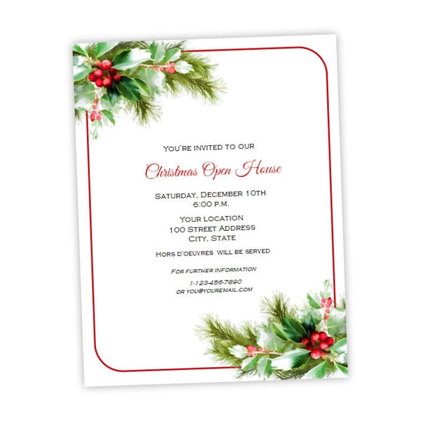 Christmas Party Flyer.Holiday Holly Christmas Party Flyer Template