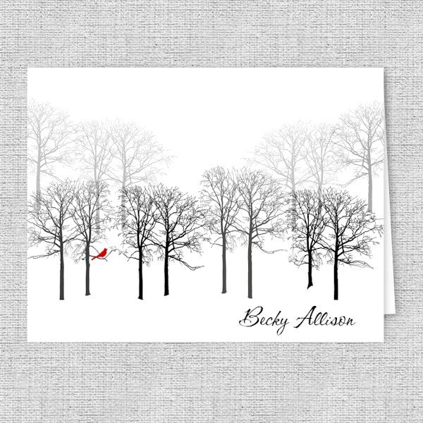 Red Bird in the Forest Personalized Note Cards