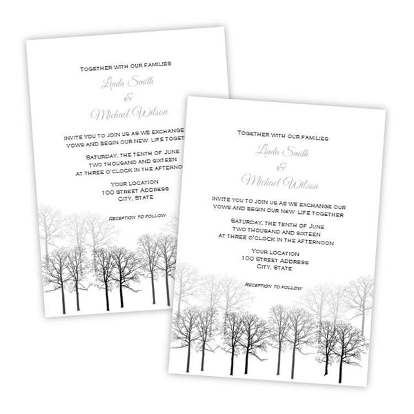 Winter Forest Wedding Invitation Template