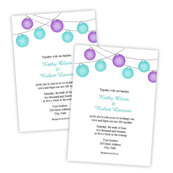Turquoise & Purple Hanging Lanterns Invitation Template