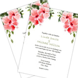 Hibiscus Flowers Wedding Invitation Template