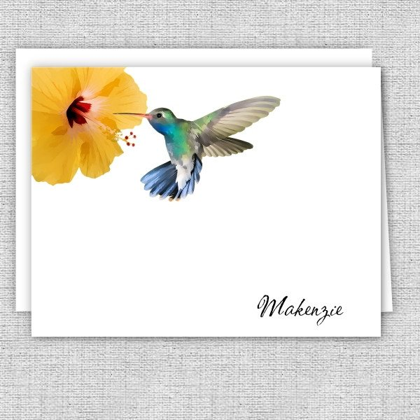 Hummingbird and Hibiscus Flower Personalized Note Cards