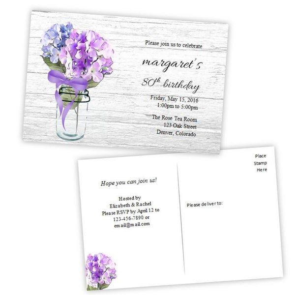 Hydrangeas in a Mason Jar Birthday Party Invitation Postcard
