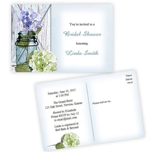 Hydrangea in a Mason Jar Bridal Shower Postcard