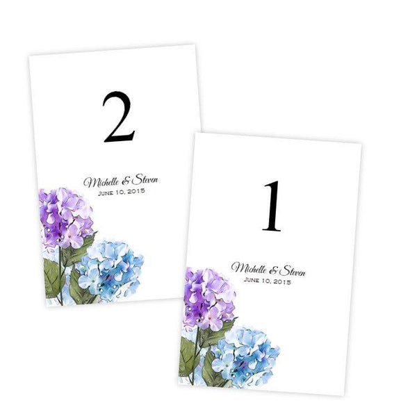 Purple & Blue Hydrangeas Table Number Template
