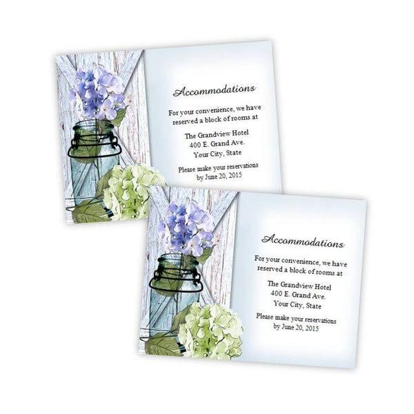 Hydrangea in a Mason Jar Wedding Enclosure Card Template