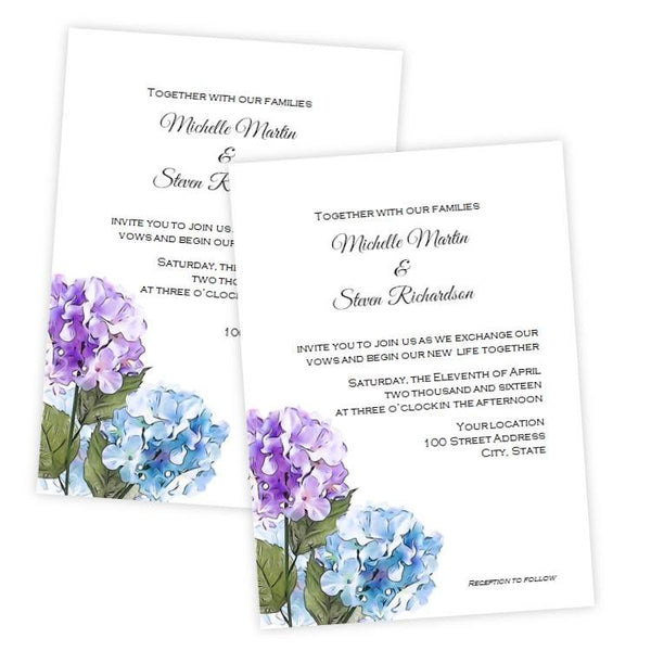 Purple & Blue Hydrangea Wedding Invitation