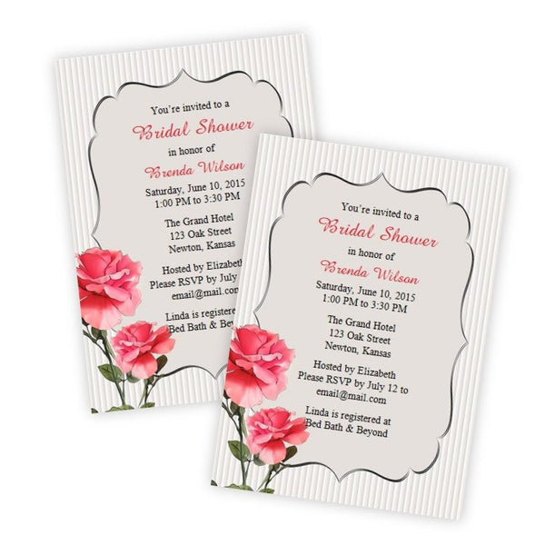 Pink Roses Bridal Shower Invitation