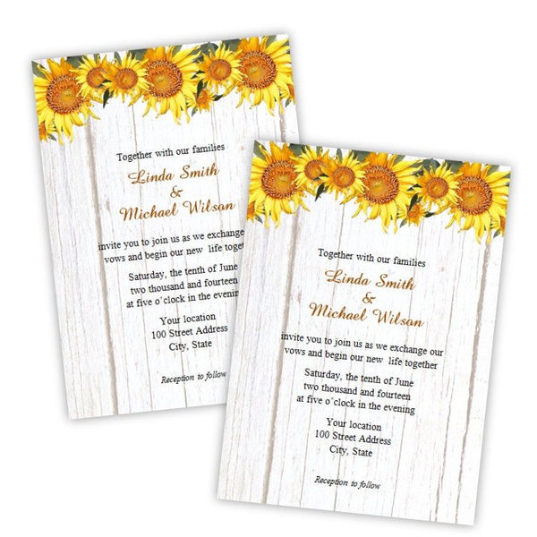 Country Sunflowers Wedding Invitation Template