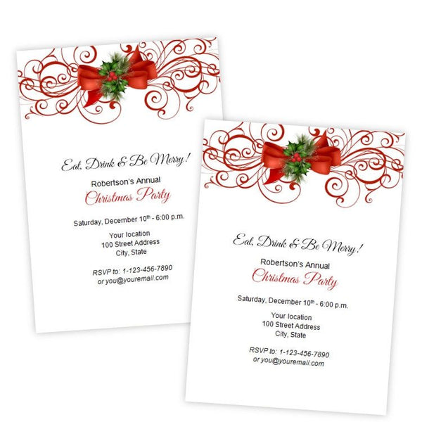 Elegant Red Flourish & Bow Christmas Party Invitation