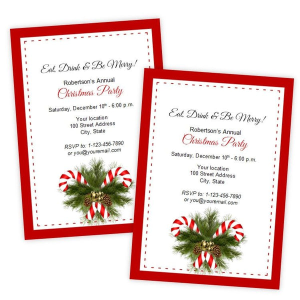 Candy Canes Christmas or Holiday Party Invitation