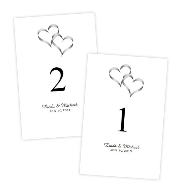 Intertwined Hearts Table Number Template