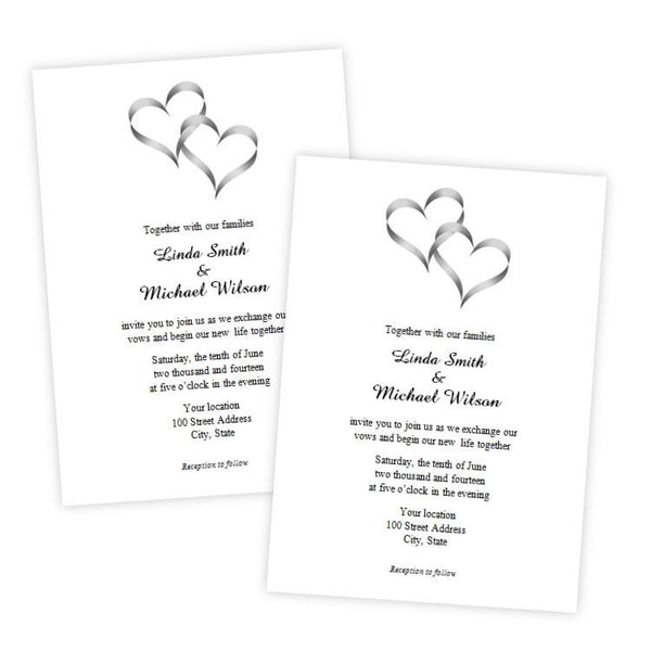 Intertwined Hearts Wedding Invitation Template