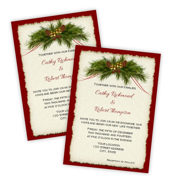 Pine Bough Christmas Wedding Invitation