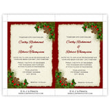 Pine Cones and Holly Christmas Wedding Invitation