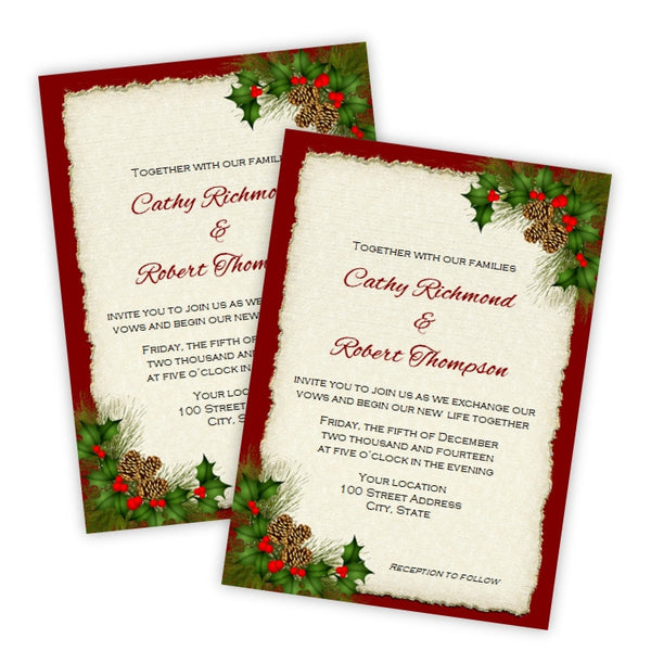 Christmas Wedding Invitations.Pine Cones And Holly Christmas Wedding Invitation