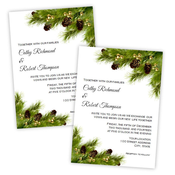 Christmas Wedding Invitations.Pine Cones Christmas Wedding Invitation