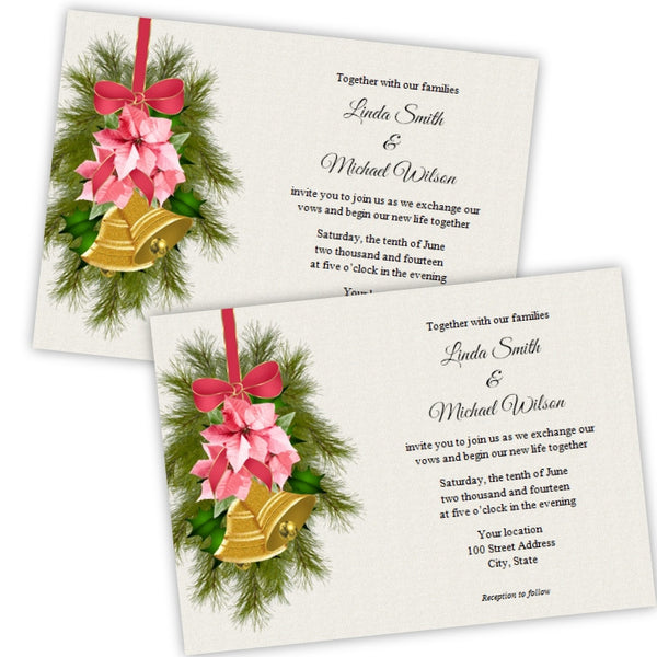 Pink Poinsettia Christmas Wedding Invitation