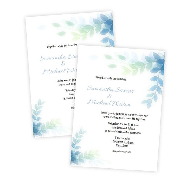 Elegant Variegated Leaves Wedding Invitation Template