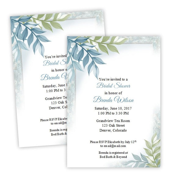 Steel Blue and Green Vines Bridal Shower Template