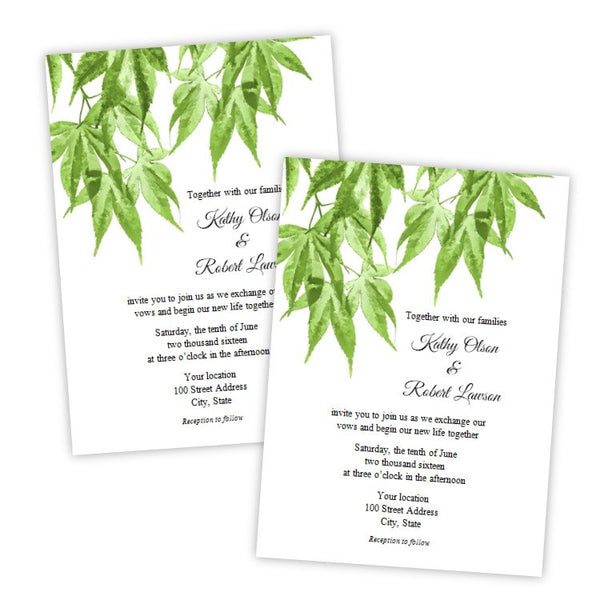 Japanese Maple Wedding Invitation Template