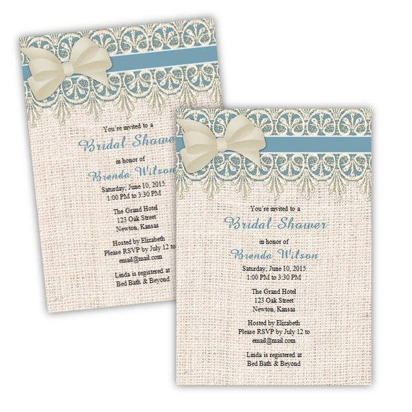 Lace and Burlap Bridal Shower Invitation