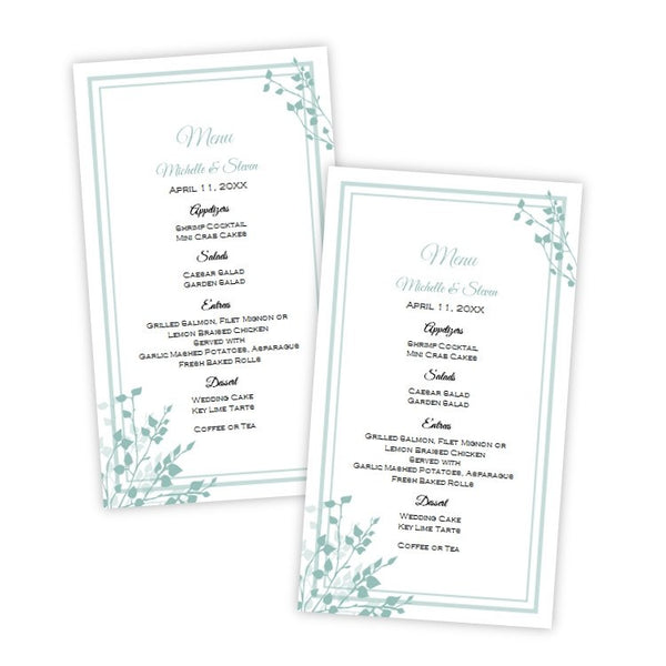 Brittany Design Wedding Menu Card Template