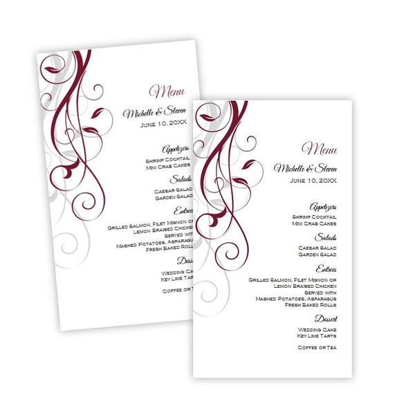 Burgundy Swirls Menu Card Template