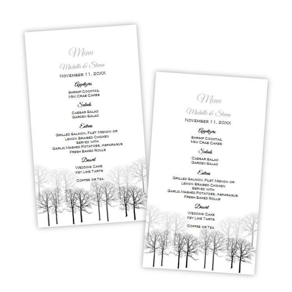 Winter Forest Menu Card Template