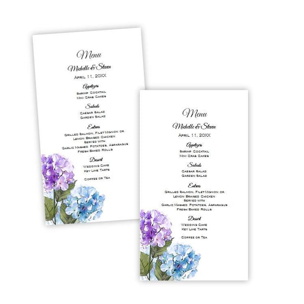 Purple & Blue Hydrangeas Menu Card Template