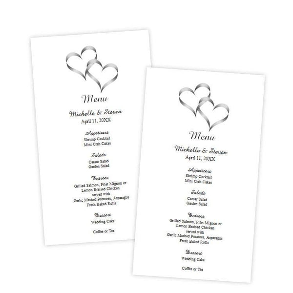 Intertwined Hearts Menu Card Template