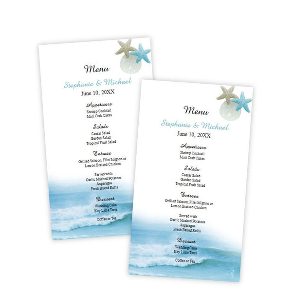 Ocean Waves Menu Card Template