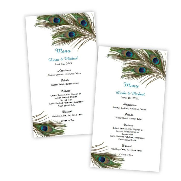 Peacock Feathers Menu Card Template