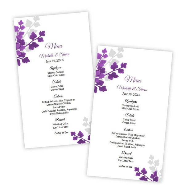Plum & Gray Leaves Menu Card Template