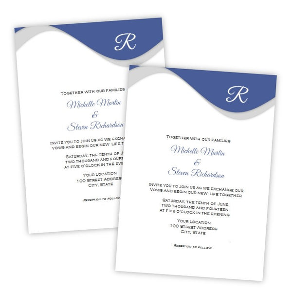 Blue Monogram Wedding Invitation Template