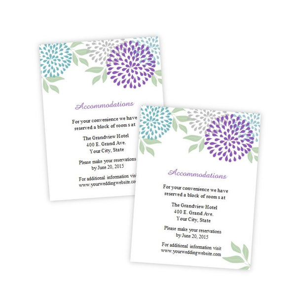 Teal & Purple Mums Wedding Enclosure Card Template