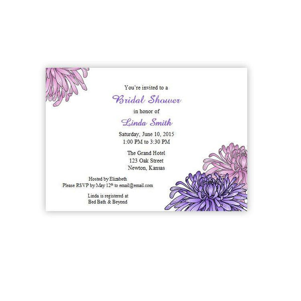 Pink & Purple Mums Bridal Shower Invitation
