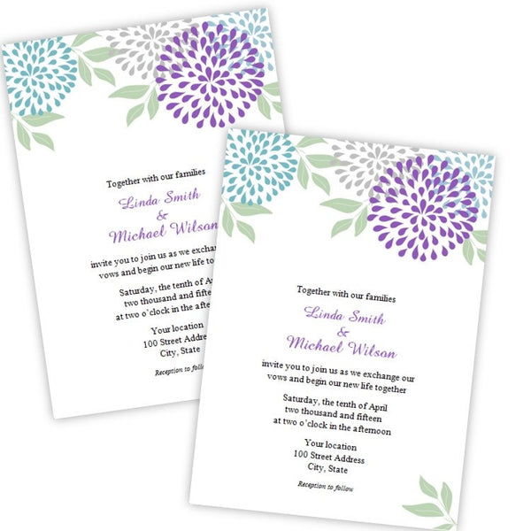 Teal & Purple Mums Wedding Invitation Template