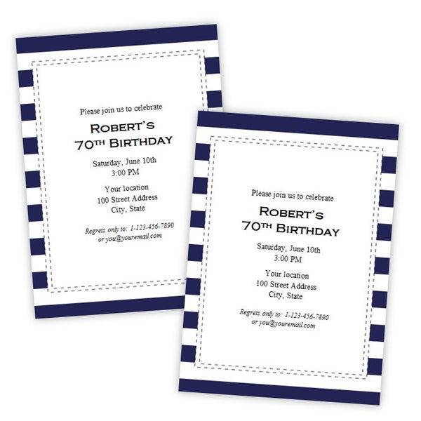 Navy Stripes Birthday Party Invitation