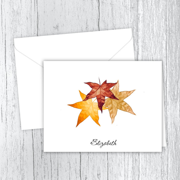 Autumn Leaves Personalized Printed Note Cards