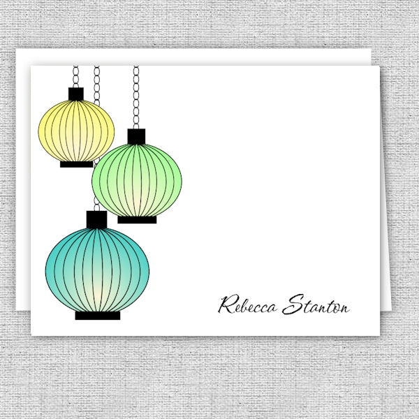 Personalized Printed Note Cards - Three Lanterns