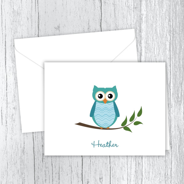 Teal Owl Personalized Note Cards