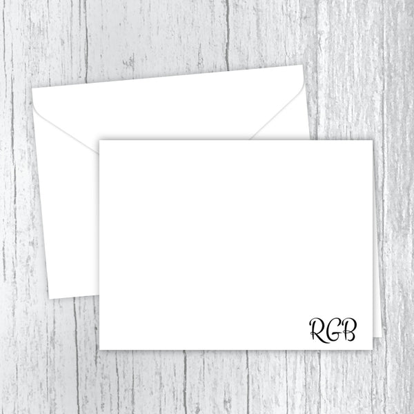 Simply 3 Initials Men's Personalized Note Cards