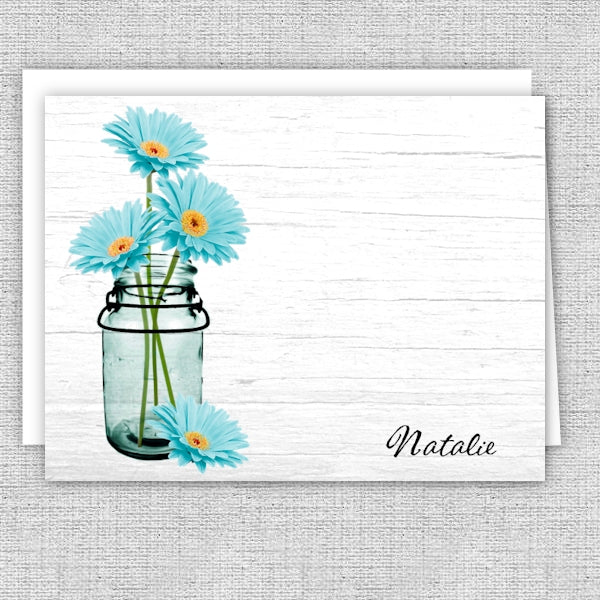 Aqua Daisies in a Mason Jar Personalized Note Cards